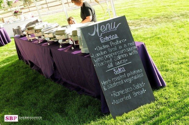 tent wedding buffet