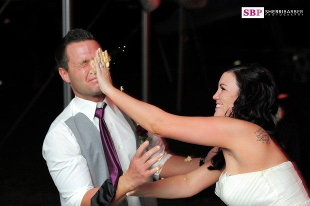 bride and groom cake fight