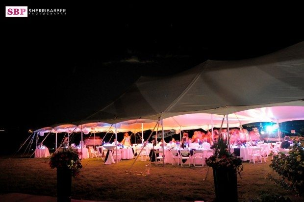 tent wedding lighting