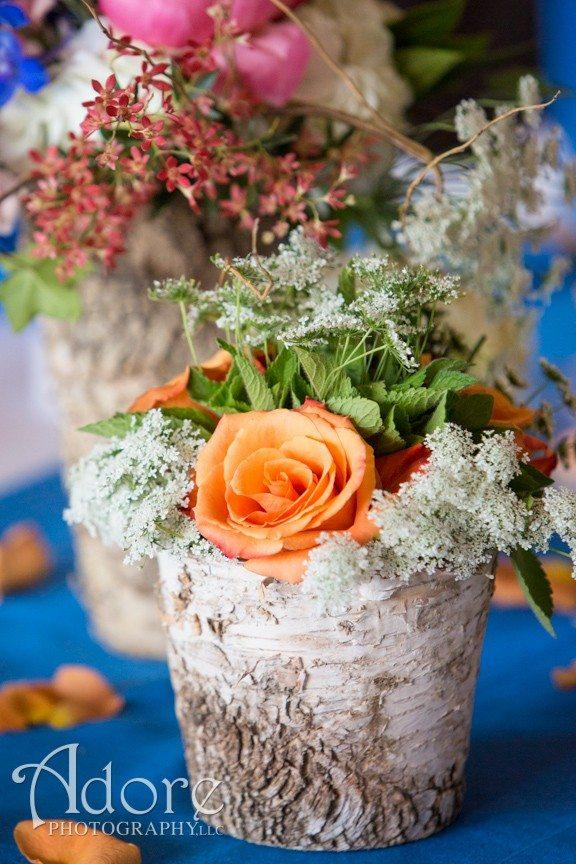 Rustic mountain wedding centerpiece