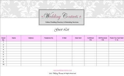 wedding-guest list