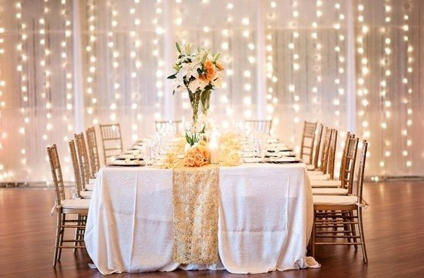 String Lights and Fabric Backdrop