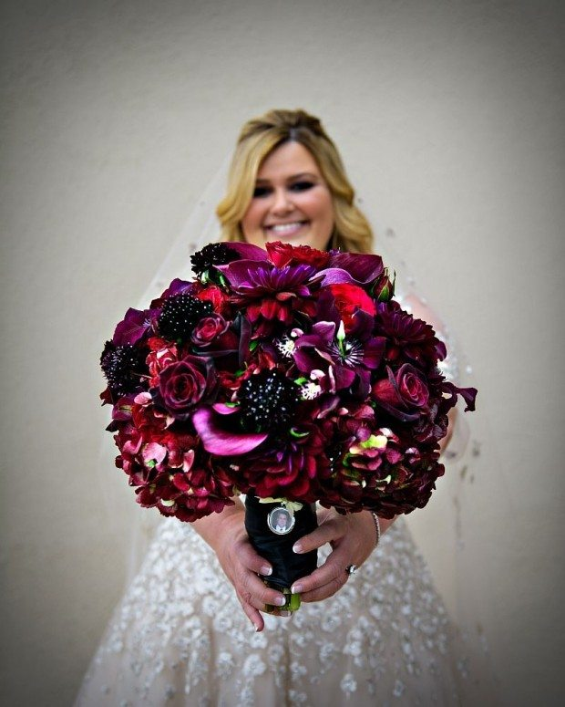 Red Flowers Colorado Wedding