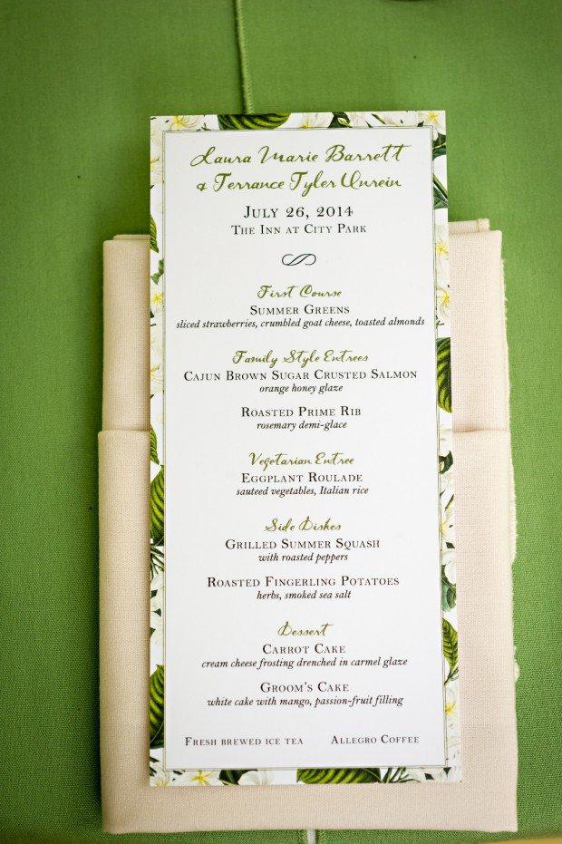 Green wedding menu cards